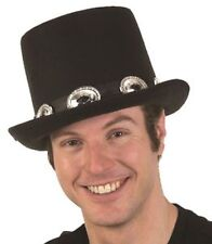 Slash Black Top Hat with Silver Buckle Hat Band Adult Size