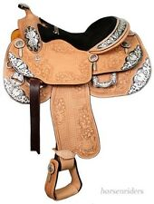 16 Inch Western Show Saddle-Light Oil Leather-Floral Tooling-Silver-Black Accent