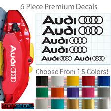 6 Vinyl Decals Fits Audi Brake Calipers - Heat Resistant Stickers - 3 Sizes