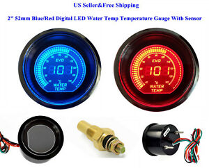 "2"" 52mm Blue/Red Digital LED Water Temp Temperature Gauge With Sensor Car AUTO"