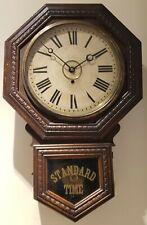 "Antique Working 1885 GILBERT ""Admiral"" Octagon Drop School House Regulator Clock"