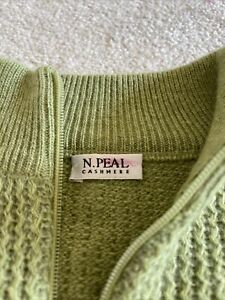 NPEAL Women Pure Cashmere Sweater Scotland N Peal Green Thick Knit Soft Size M