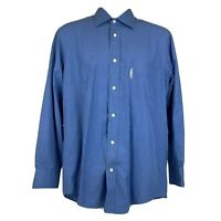 Faconnable Button Down Shirt Size Large Men's Blue Long Sleeve Pocket