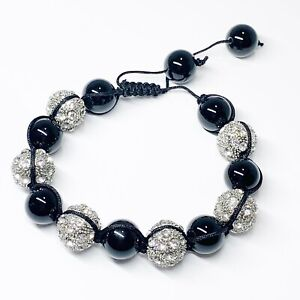 Unisex Black Silver Rhinestone Glass Ball Braided Shamballa Bracelet