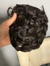 100% Human Hair Clip In Topper Toupee Wavy Bangs Hair Integration 1 B