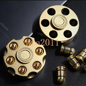 EDC Brass Revolver Bullets Finger Spinner Top Hand Fidget Pocket Desk Toy Gift