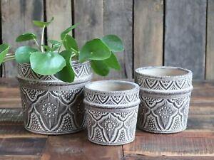 Patterned grey plant pot