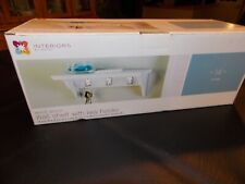 "Interiors by Design White 14"" Wall Shelf with Key Hooks - NEW"