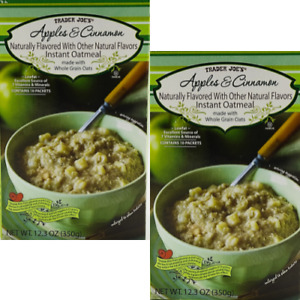 Trader Joe's Apples and Cinnamon Instant Oatmeal 10 Packets 12.3 oz Box 2 Pack