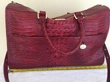 ❤️Brahmin Anywhere Traveler Cherry Red Duffel Travel Bag Luggage Croc Leather❤️
