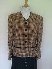 LADIES BURGUNDY, BEIGE GREEN CHECK / TARTAN LEAD REIN JACKET SIZE 14