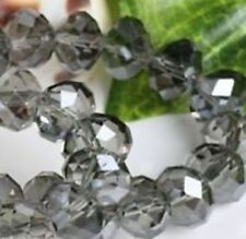 Wholesale 98Pcs New Faceted Crystal Loose Gray Beads 4*6mm