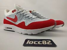 Nike Air Max 1 Ultra Flyknit size Men 9.5 [843384-101] White Grey Red am1 day OG