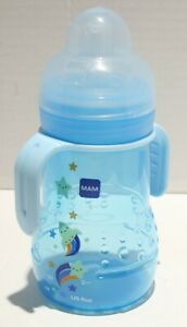 MAM Trainer Cup w/Removable Handles & 2 Nipple Types - 8oz Blue Rocket/Stars