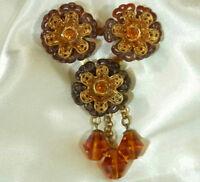 Vintage 40's Celluloid Amber Crystal Rhinestone Queenly Flower Brooch 107n7