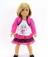 "Doll Clothes 18"" Skirt Pink Polka Dot Top Fashion Cat Fits American Girl Doll"