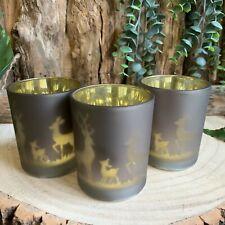 Set of 3 Reindeer Woodland Christmas Glass Tea Light Holders Xmas Candle Votive