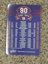 2014 New York Giants (NFL) Bud Light 90th season team issued magnet schedule