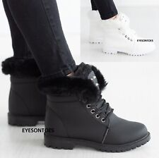 LADIES SHOES WOMENS FLAT FUR LINED GRIP SOLE WINTER ARMY COMBAT ANKLE BOOTS SIZE
