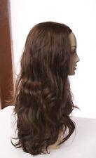 GORGEOUS EUROPEAN HUMAN HAIR WIG MEDIUM BROWN HEADBAND FALL WIG WAVY  23 IN