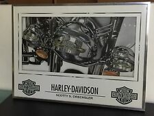 Harley Davidson Stainless Steel Framed Canvas Art Print Wall Art 20 x 28 inch
