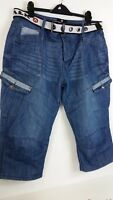 NEW AIRWALK BELTED Mens CARGO JEANS SHORTS BLUE Size XL B341-60