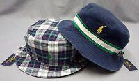 NWT $49 POLO RALPH LAUREN BUCKET HAT CAP Mens Navy / Plaid REVERSIBLE New