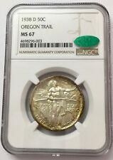 1938-D 50C Oregon Trail Silver Commemorative MS 67 NGC & CAC