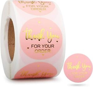 500 Pcs/Roll Thank You (Gold Foil, Pink) 1 Inch Stickers/Labels