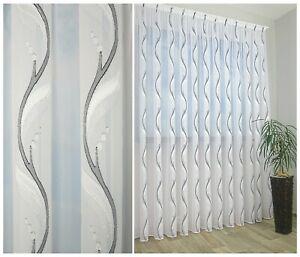 Exklusive Gardine Voile Muster Schwarz Weiß silberne Akzente Bleiband NACH MAß