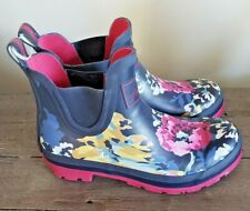 Joules Women's Wellibob Pull On Ankle Rain Boots Blue Pink Floral Size 10 M US