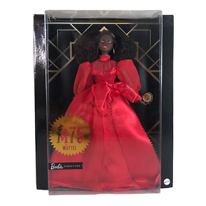 Barbie Collector Mattel 75th Anniversary Doll Brunette Curly Hair Red Gown COA