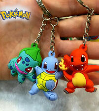 3pcs Pokemon Bulbasaur/Charmander/Squirtle 3cm-4cm Key Ring Chain Figure Set