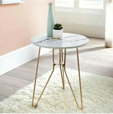 Contemporary Patina Side Table With Gold Finish Metal Legs & Marble Effect Top