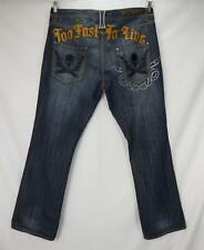 Blac Label Too Fast To Live Skull Embroidered Denim Jeans Blue Men's 42 x 34