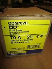 Square D Circuit Breaker QOM70VH 70A 2P 120/240V 22000 AIR New Surplus