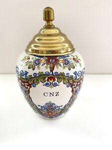 Original Delft Royal Goedewaagen CNZ Tobacco Jar 200/000 Bule Floral Holland