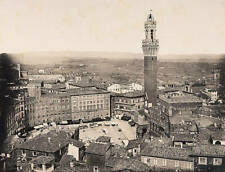 OLD PHOTO Siena Panorama With Piazza Del Campo And The Tower Of The Palazzo