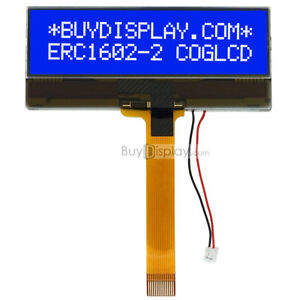 Slim Blue 16x2 COG Character LCD Module w/Tutorial,FPC Connection Connector