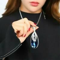 Water Drop Crystal Pendant 925 Silver Long Chain Necklace Womens Ladies Jewelry