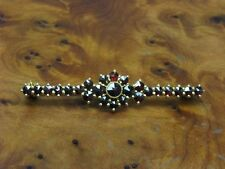 830 Silver Brooch with Garnet Decorations/Gold Plated / Real Silver/3,4g