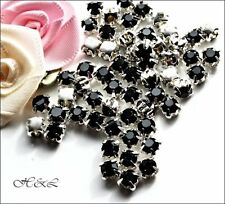 40 Jet Black colour ss20 Rose Montees 4 hole Sew On Glass Crystals 20ss 4mm 5mm