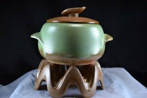 Frankoma Pottery, Holder and Warmer with Bean or Casserole Pot in Praire Green