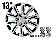 """13"""" inch Hubcaps CAR+ """"Marina Bay""""  2 tone Silver and Black ABS  Set of 4 pieces"""