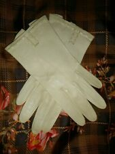 5 5.5 Leather Gloves Ivory White Butter Soft & Silk Scarf