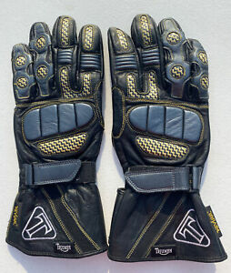Triumph Motorcycle Riding Gloves Leather Men's Large Kevlar Black Yellow MINT