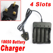 18650 Li-ion Battery Charger Rechargeable 4 Slots for 4x 3.7v UK Plug Batteries