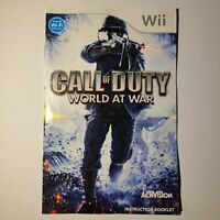 Call of Duty World At War Nintendo Wii 2008 M-Mature No Cover Tested/Working