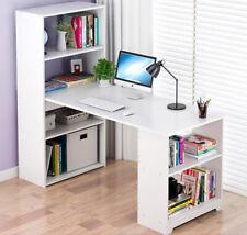 L-Shaped White Computer Desk Shelves Laptop Table Home Office Corner Workstation