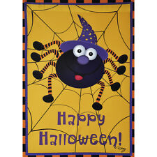 "HAPPY HALLOWEEN SPIDER 12.5"" X 18"" GARDEN FLAG 11-2150-161 RAIN OR SHINE FALL"